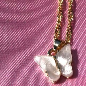 White Gold Plated Butterfly Necklace